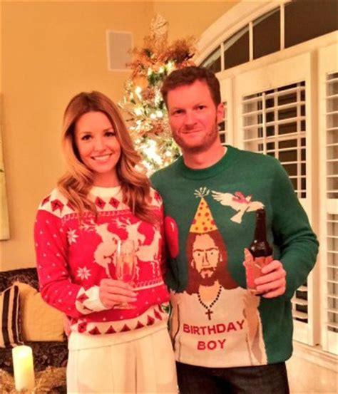 dale earnhardt jr wears ugly christmas sweater