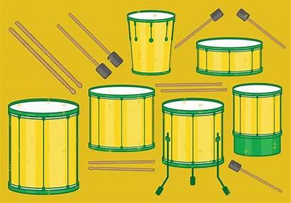 Samba Batucada Drums Vector Instruments Clipart Brazilian