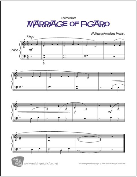 marriage of figaro mozart easy piano sheet music