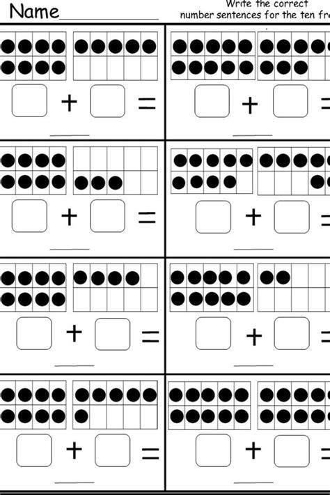 ten frame addition printable kindergarten math