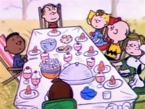 charlie brown thanksgiving table quot college quot offended by cotton centerpiece food on