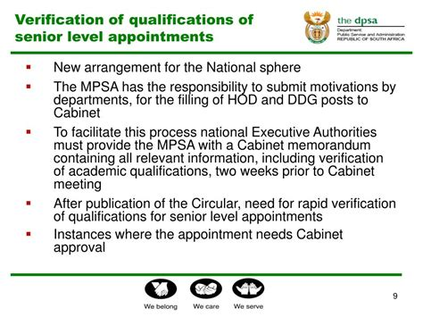 cabinet level agencies are responsible to ppt verification of qualifications of service