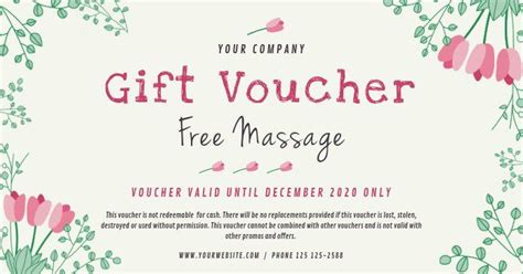 massage gift certificate template   spa gift