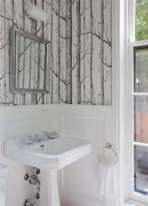 birch tree wallpaper powder room transitional with towel With kitchen cabinets lowes with papier peint originaux