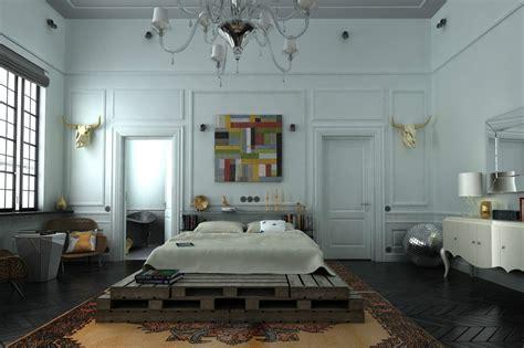 reclaimed wood platform bed interior design ideas