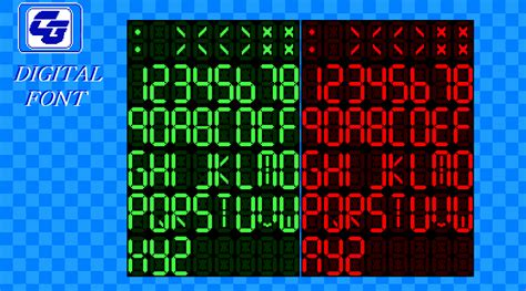 Created by david j patterson in techno lcd styles with 100 sample: A digital font, like an alarm clock or Bomb! colours can be easily changed, i just did the basic ...