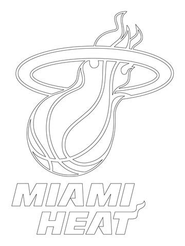 miami heat logo coloring page  printable coloring pages