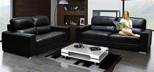 Naples 3 2 seater black black leather sofas sofas for Black leather sectional sofa uk