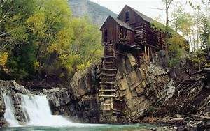 Waterfall, And, House