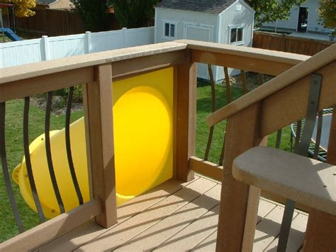 Kid's Slide From A Second Story Deck Easy To Install And