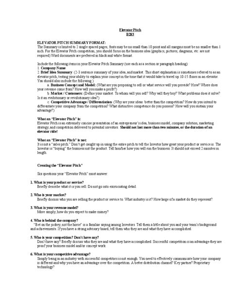 Elevator Pitch Resume by Elevator Pitch Exles 4 Free Templates In Pdf Word