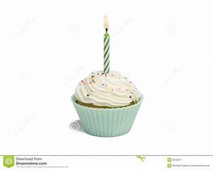 Green Cupcake And Candle Royalty Free Stock Photography ...