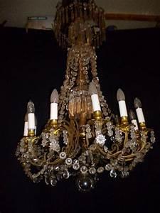 Lustre Pampilles Cristal : grand lustre a pampilles cristal et bronze dore 19me lustres ~ Teatrodelosmanantiales.com Idées de Décoration