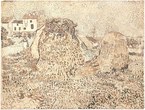 haystacks   farm  vincent van gogh  drawing