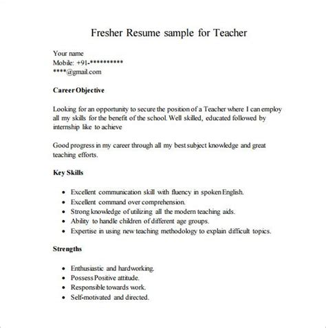 Format Of Simple Resume For Freshers by Career Objective For Resume For Fresher Resume