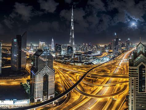Burj Khalifa Skyscraper In City Dubai United Arab Emirates