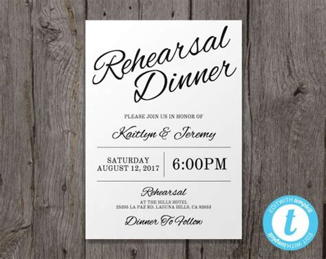 Printable Wedding Rehearsal Dinner Invitation Template