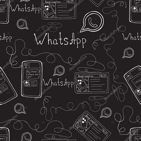 Wallpaper For Iphone 6 Tumblr Vector Doodle Seamless Pattern With Whatsapp And Smartphone Mobile Background Stock Vector
