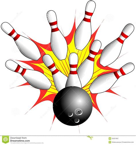 free bowling clipart isolated bowling strike illustration stock illustration