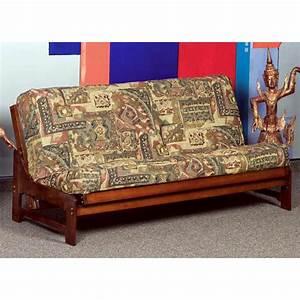 Monet full size wood futon frame armless dark cherry for Cherry wood futon frame