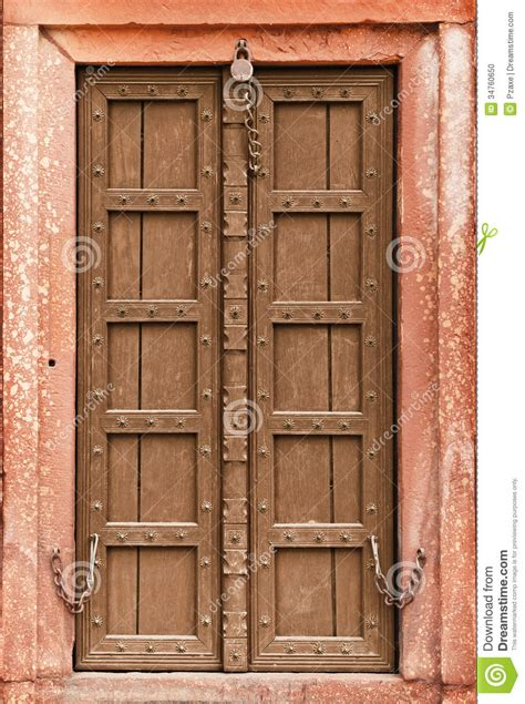 Old Wooden Door   Part Of Indian Architecture Stock Photo