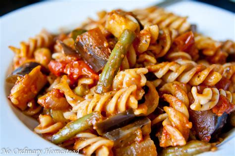 vegetarian pasta recipes fall vegetable pasta with zucchini eggplant green beans no ordinary homestead