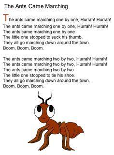 ants  marching song lyrics teaching pinterest