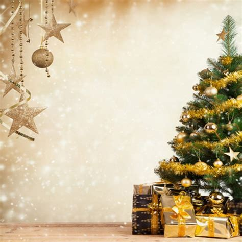 gold green pine tree with bell merry christmas backdrops for photo studio