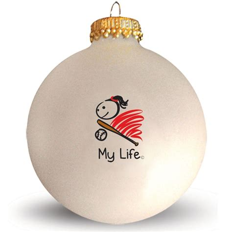 glass ornament my life 169 softball lt softball christmas gifts p