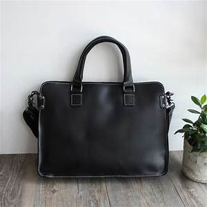 Black Top Grain Leather Briefcase for Men, Leather Laptop ...