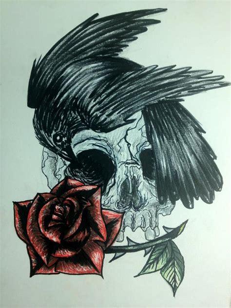 items similar  rose crow  skull drawing  etsy