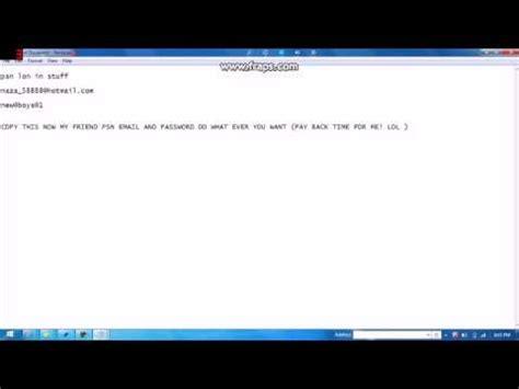 psn   email  password everting   youtube