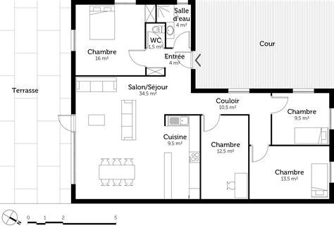 plan de maison 3 chambres plan maison en l de plain pied avec 3 chambres ooreka
