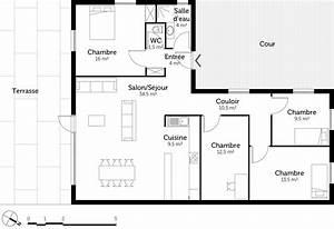 plan maison en l de plain pied avec 3 chambres ooreka With plan de maison 3 chambres plain pied