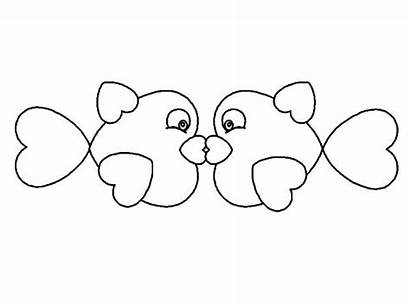 Outline Fish Kissing Coloring Pages Nimbus