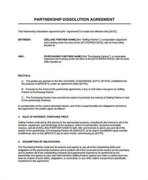 dissolution agreement examples  word examples