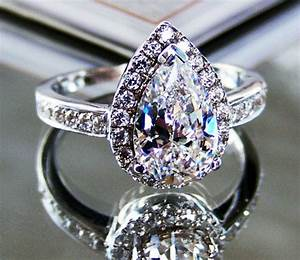 2 ct pear cut lab made diamond halo engagement ring for Lab created diamond wedding rings
