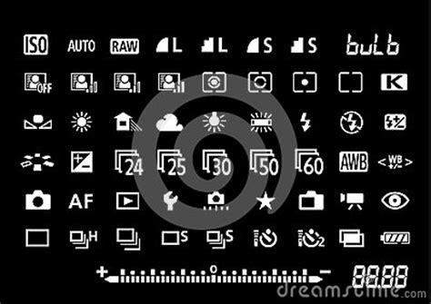 camera settings symbols stock  image