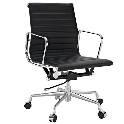 mid back desk chair ribbed back eames aluminum office chair modern mid