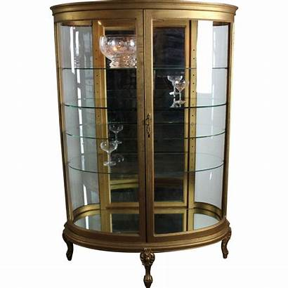 Curio Cabinet Transparent Background Curved Glass Oval