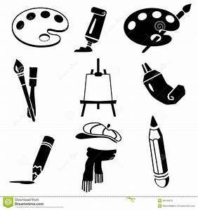 Vector Black Art Icon Set On White Stock Vector - Image ...