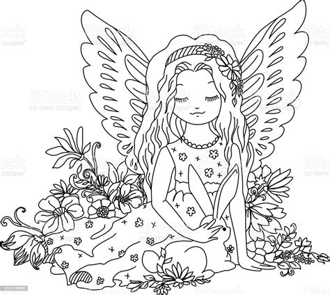 See more ideas about mandala, free svg, mandala svg. Cute Angel With Bunny Coloring Book Illustration Stock ...