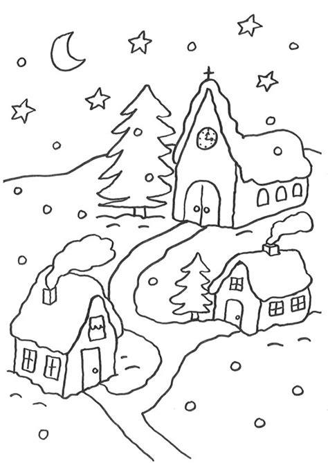 coloriage de noel nuit de noel sous la neige