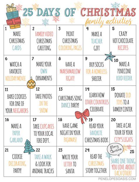 days  christmas advent activities calendar printable