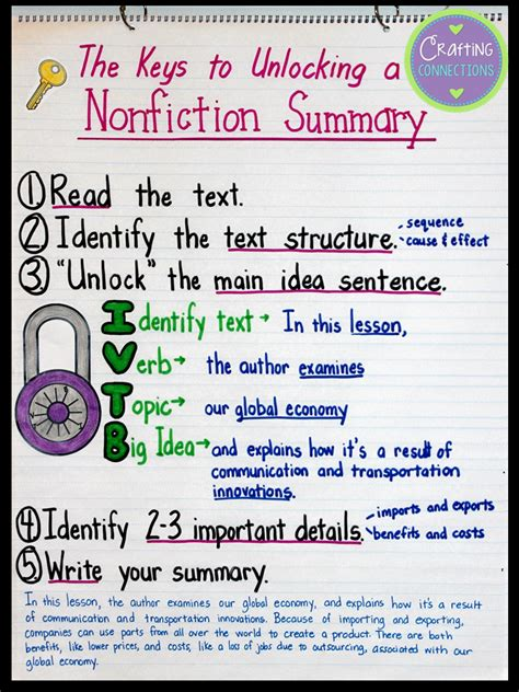 crafting connections summarizing nonfiction text during a