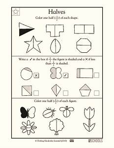 Halves Worksheet For 1st Grade