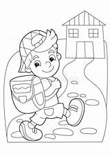 Coloring Cartoon Going Boy Getting Children Colorful Illustration sketch template