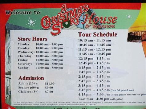 Hours And Tour Admission Prices