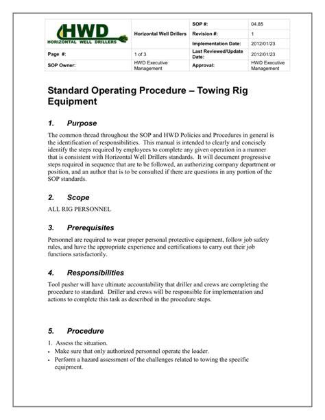Standard Operating Procedure – Towing Rig Equipment