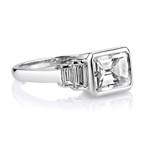 emerald cut deco engagement rings deco 2 40 carat cert emerald cut platinum